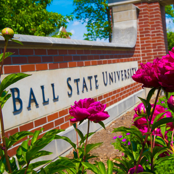 Ball State University welcome sign with spring flowers